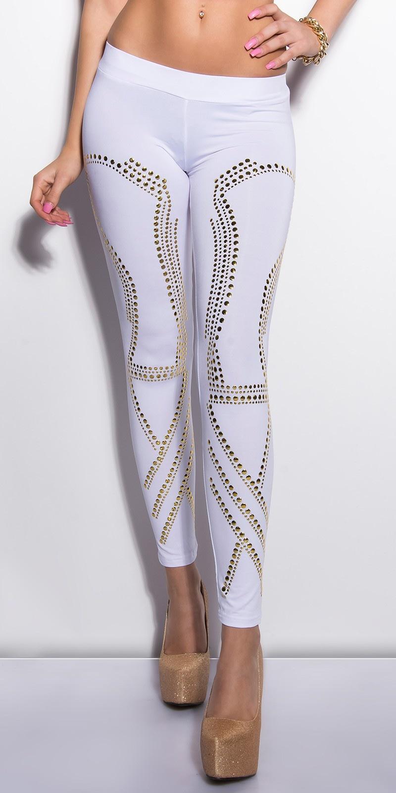 Sexy KouCla leggings with studs White
