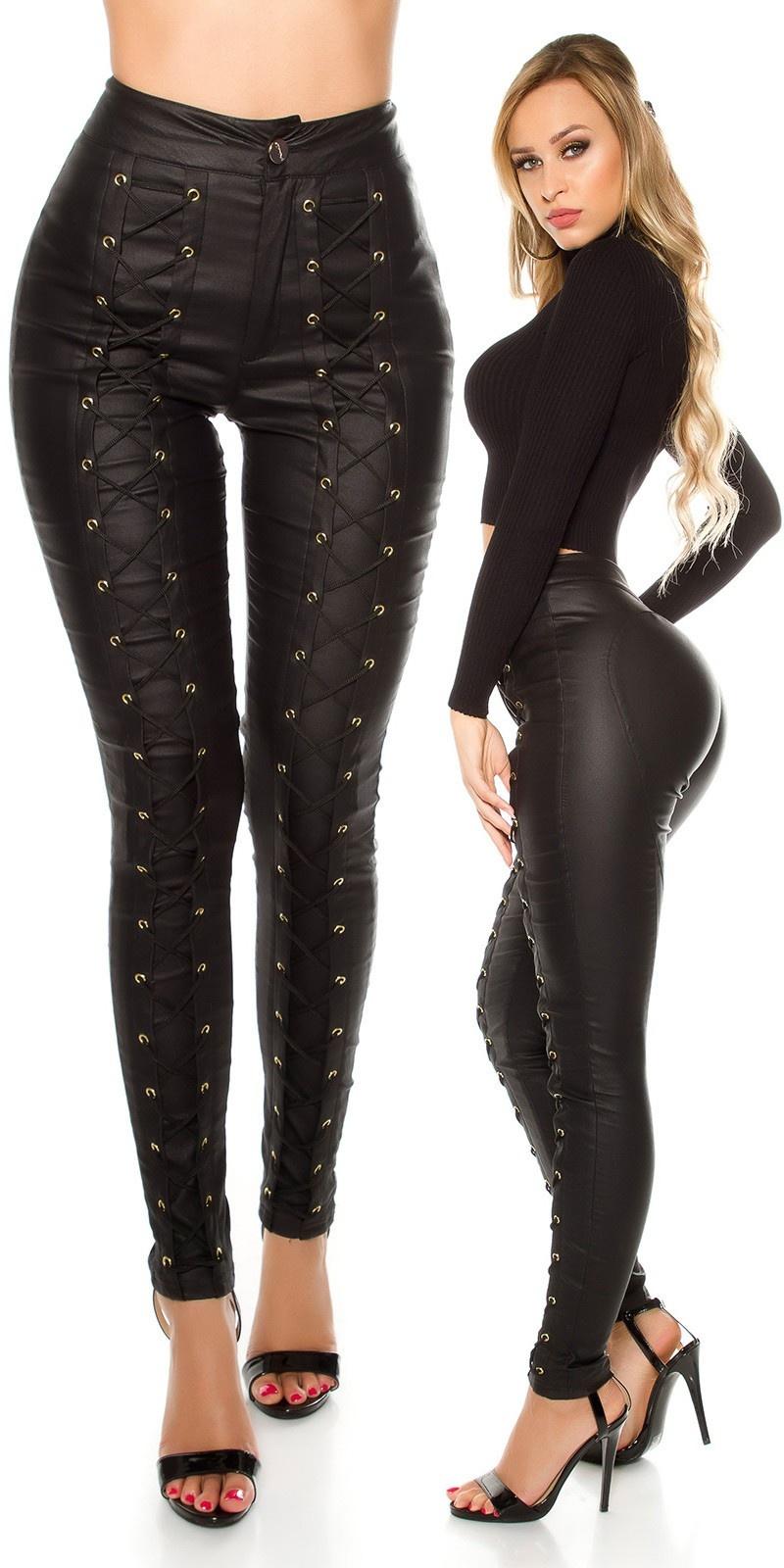Sexy lederlook broek met hoge taille en veter zwart