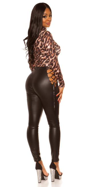 Sexy KouCla Wetlook Leggings With Lacing Black