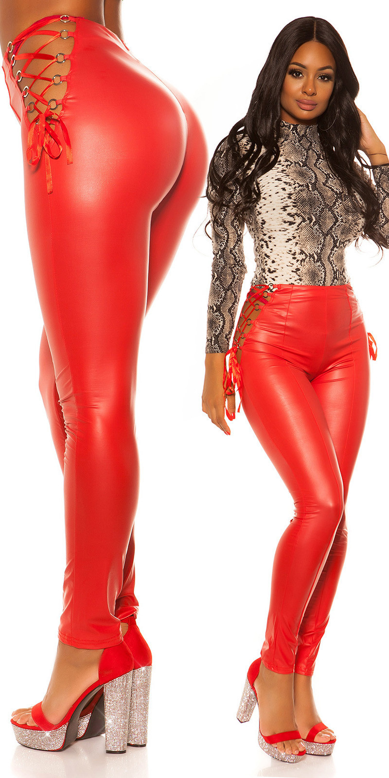 Sexy wetlook leggings met veter rood