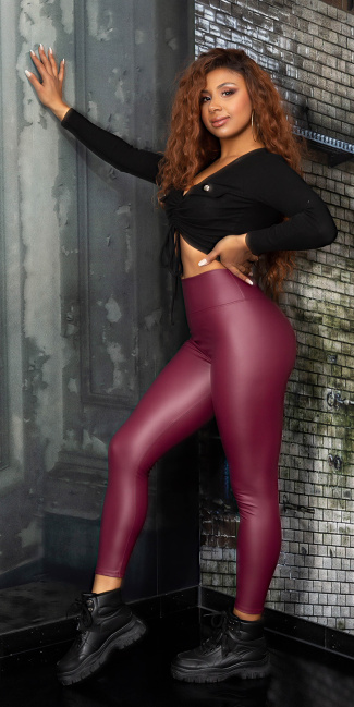 Sexy Faux Leather High waist Leggings Bordeaux