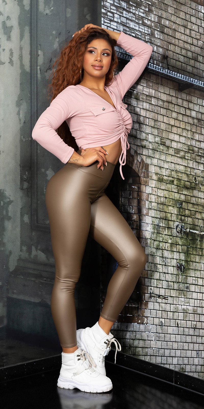 Sexy faux leder hoge taille leggings bruin
