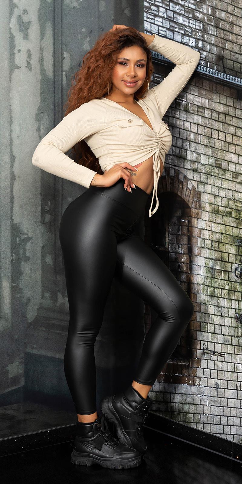 Sexy faux leder hoge taille leggings zwart