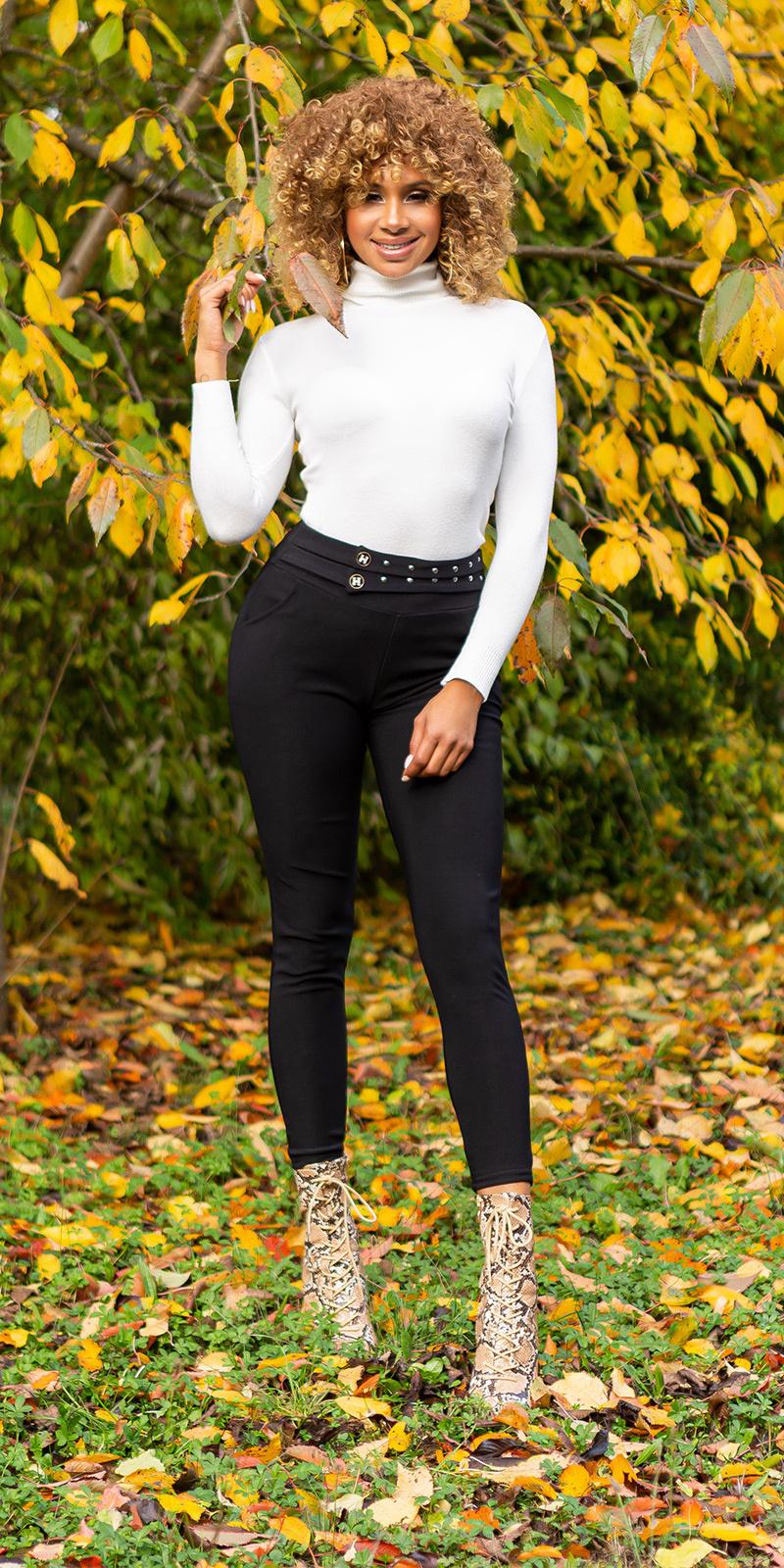 Sexy fitting hoge taille broek zwart