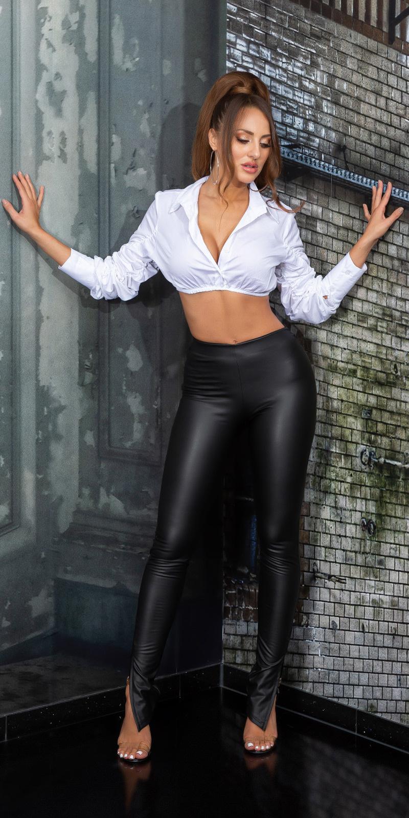 Sexy faux leder broek met side split zwart