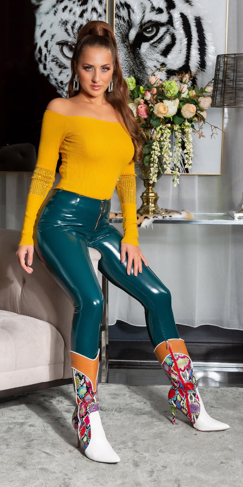 Sexy latex look skinny broek groen