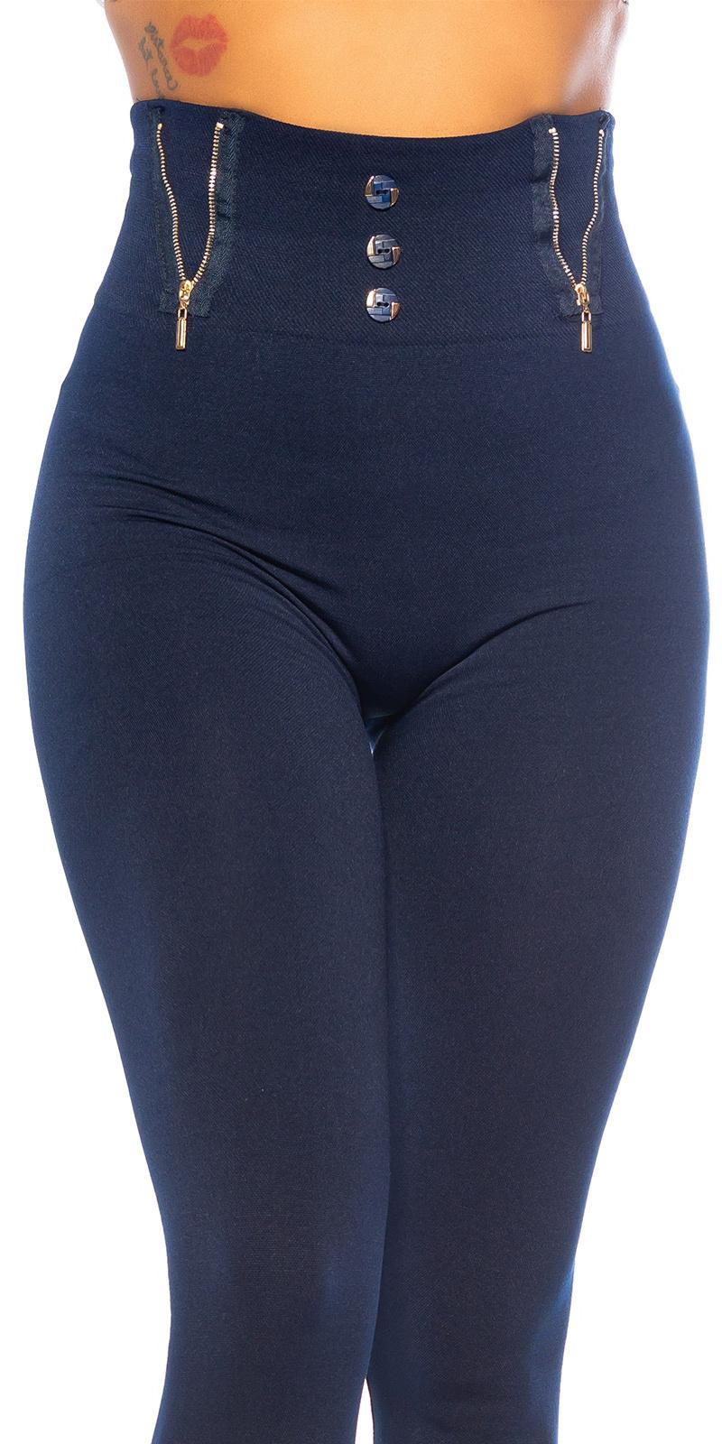 Sexy hoge taille fashion thermo leggings met ritssluiting detail marineblauw
