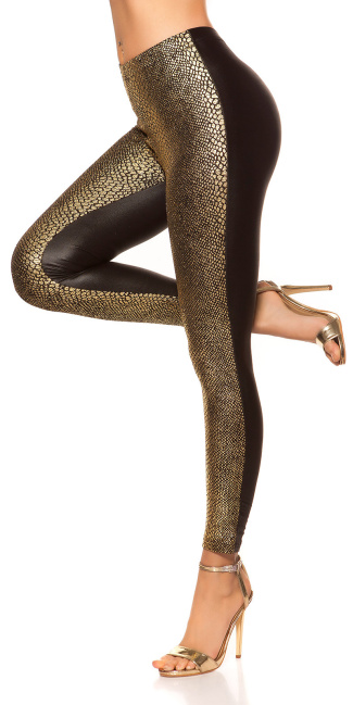 Sexy Leggings with snake-print Gold