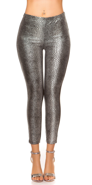 Sexy Leggings with snake-print Silver