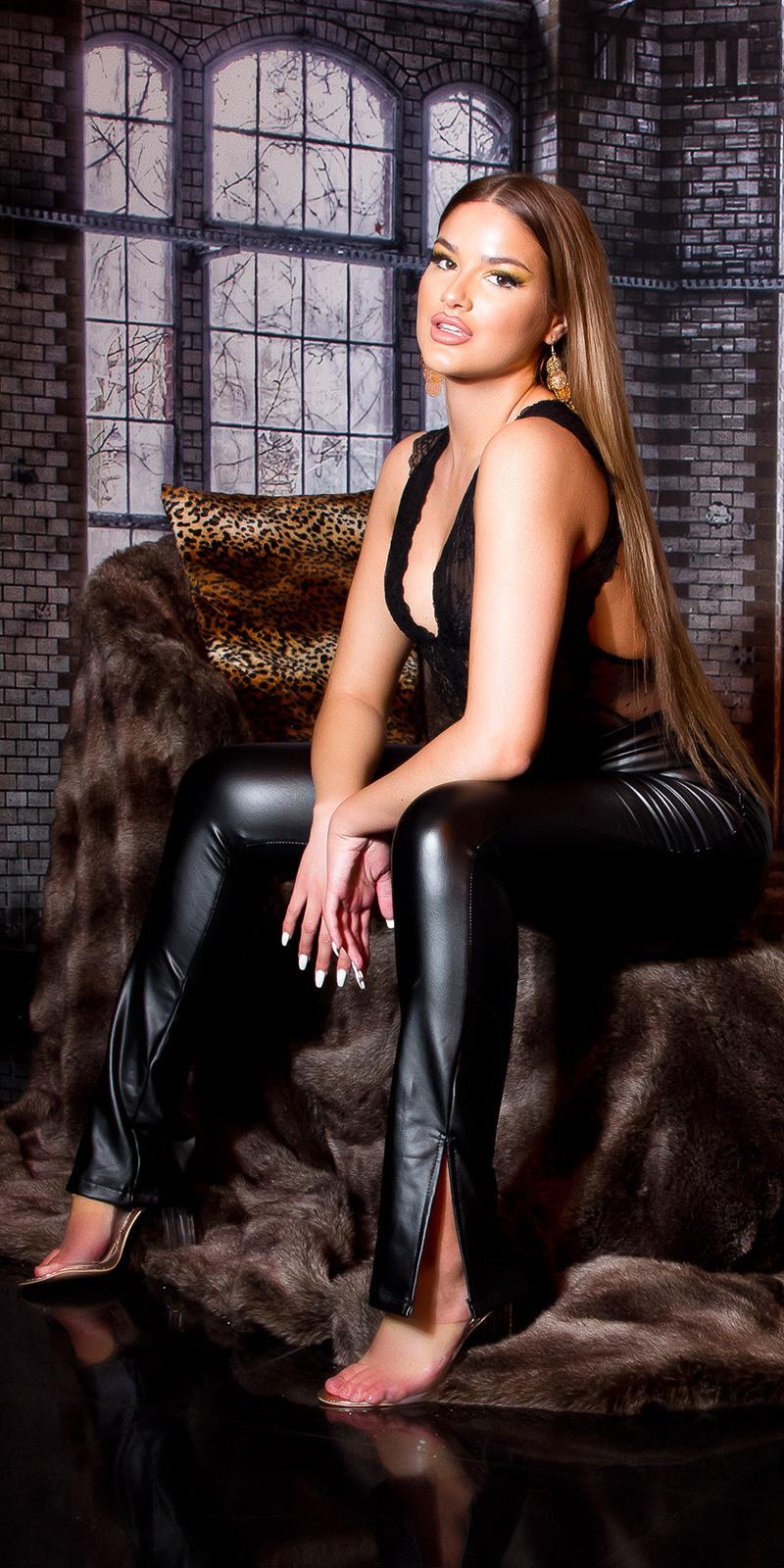 Sexy bootcut faux leder broek zwart