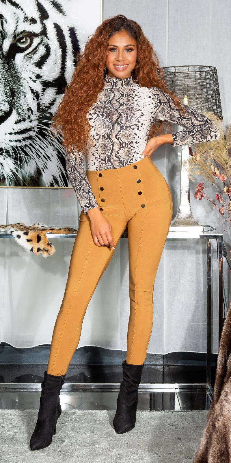 Sexy hoge taille broek/leggings met decoratieve knopen bruin
