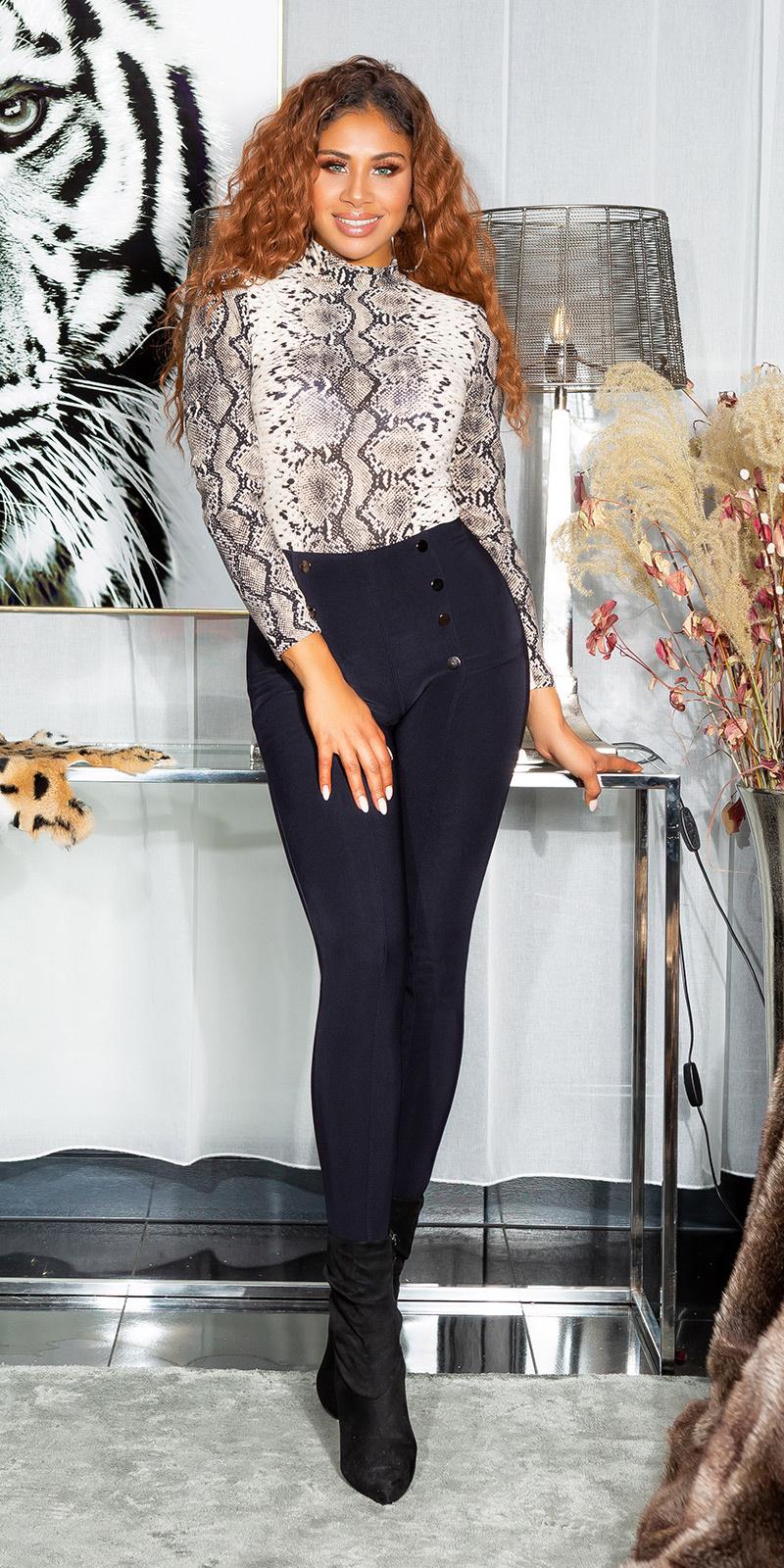 Sexy hoge taille broek/leggings met decoratieve knopen marineblauw