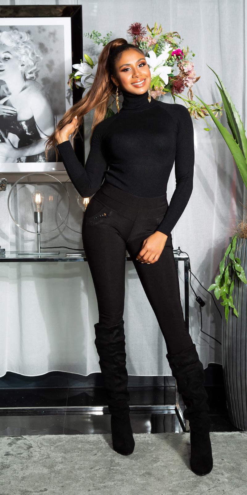 Sexy thermo legging met decoratieve zakken zwart