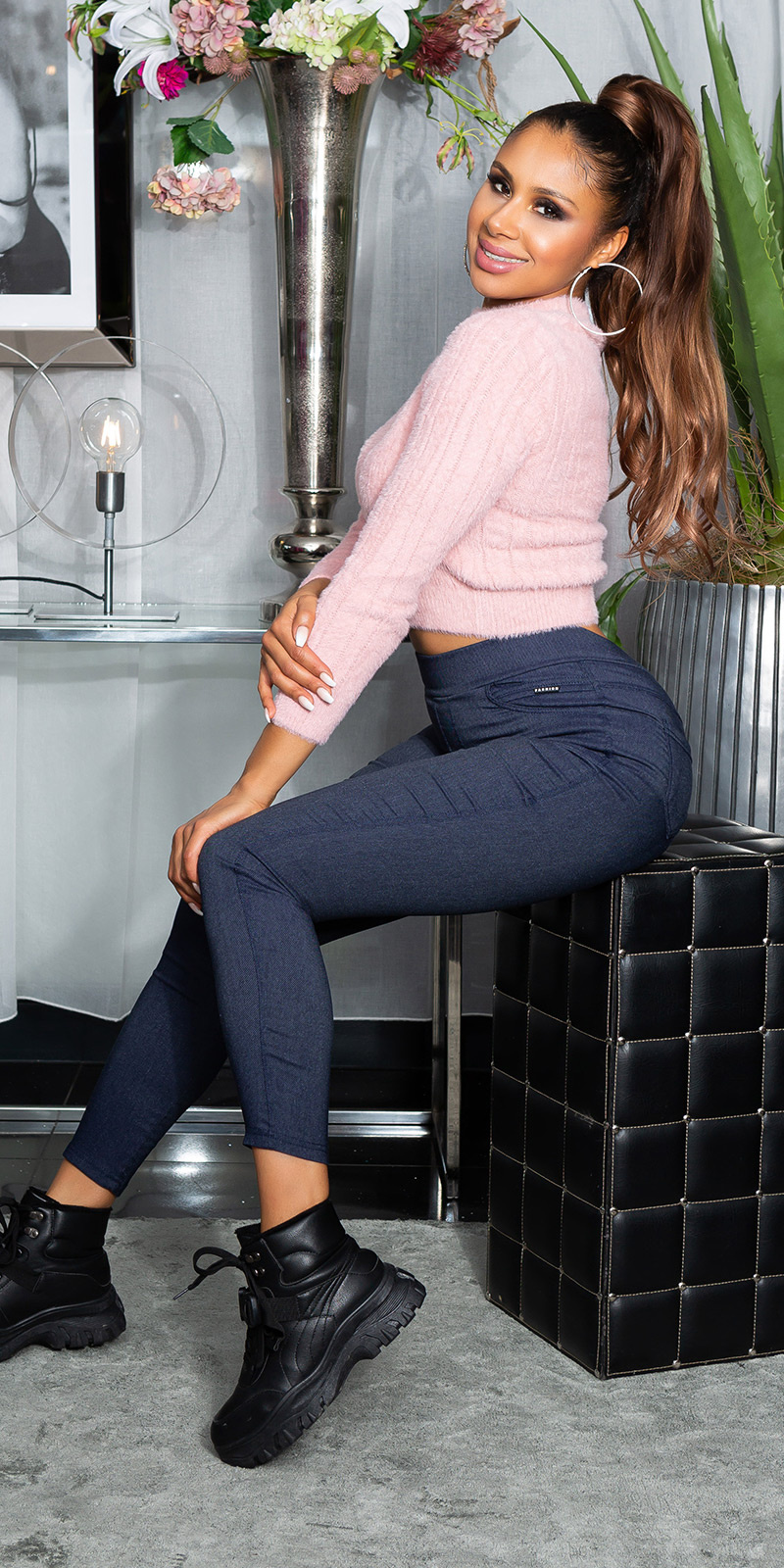 Sexy skinny hoge taille thermo jeggings blauw