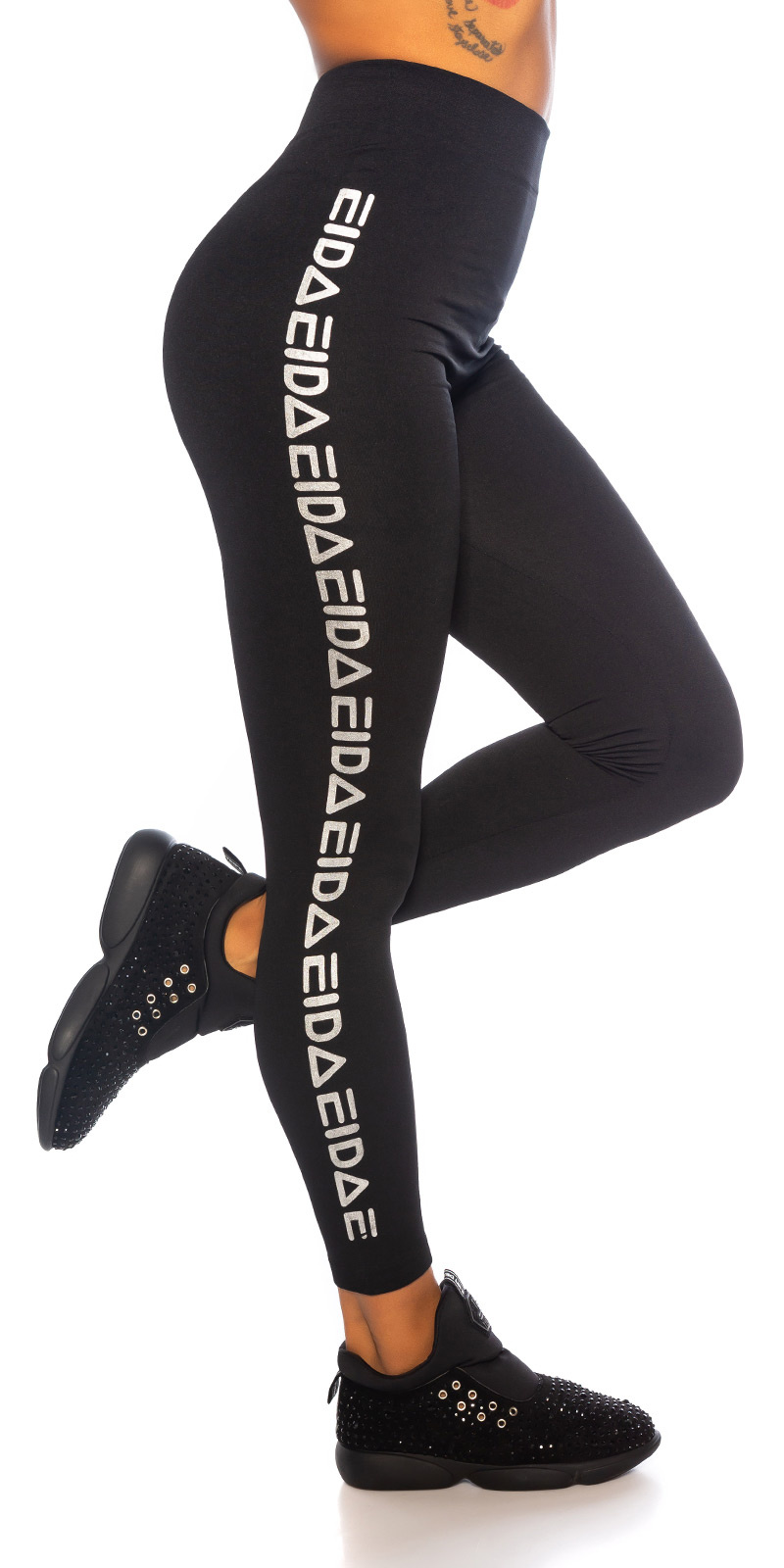 Sexy sporty naadloze thermo leggings zilver