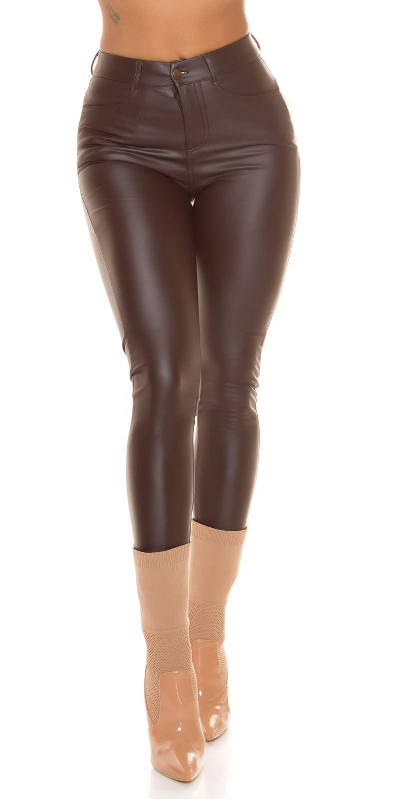 Sexy faux leder thermo broek bruin