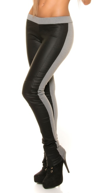 Sexy KouCla treggings with leatherlook-application Grey