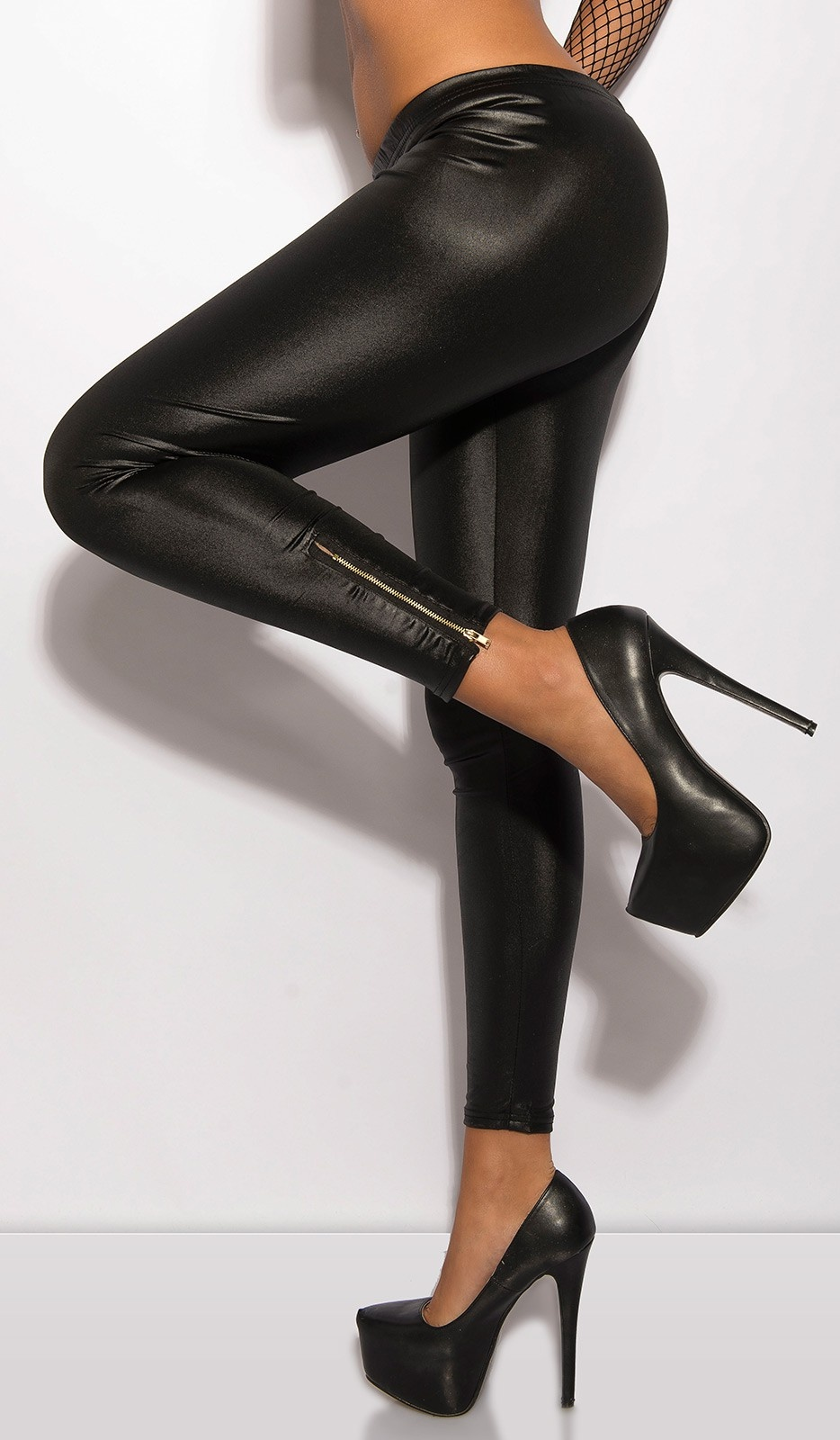 Sexy KouCla leggings with shiny-look and zips Black