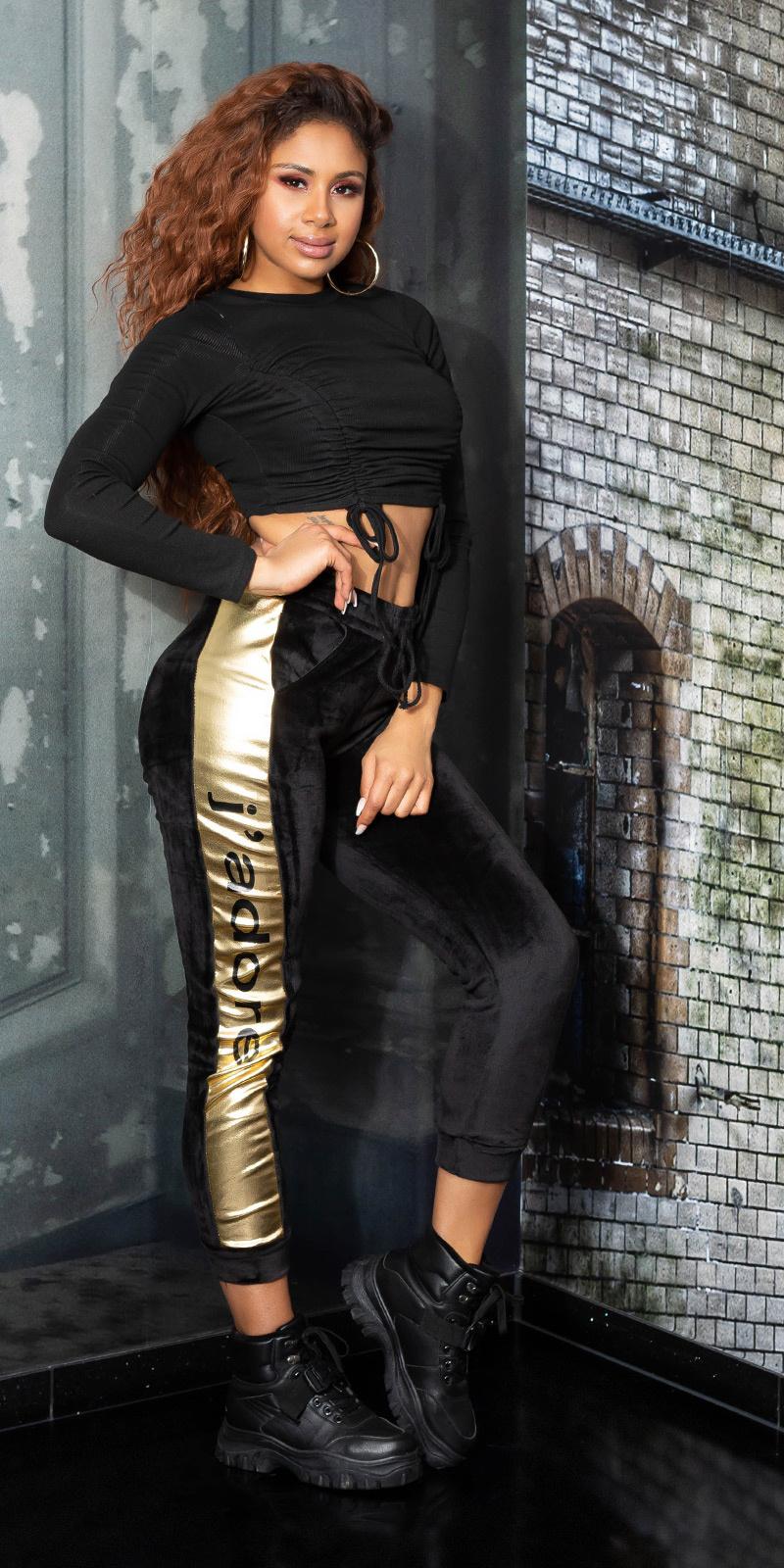 Trendy thermo sweatpants met strepen zwartgoud