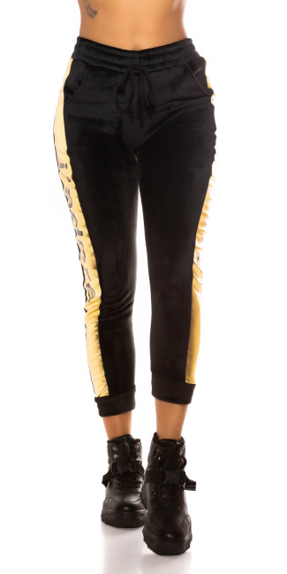 Trendy Sweatpants with Side Stripes/ Thermo Blackgold