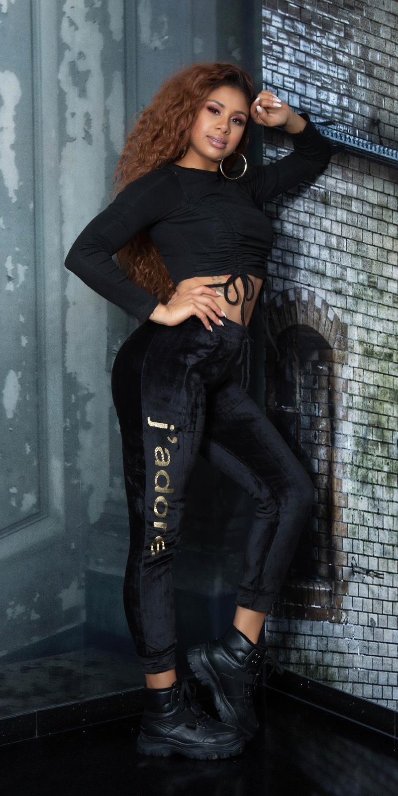 Trendy thermo sweatpants met strepen zwart