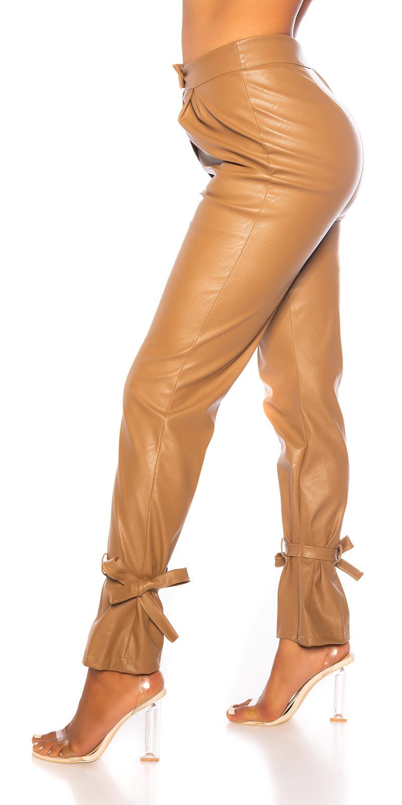 Trendy hoge taille broek leder- look bruin