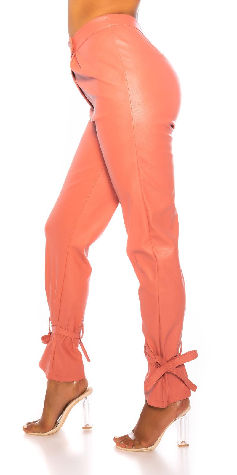 Trendy hoge taille broek leder- look roze