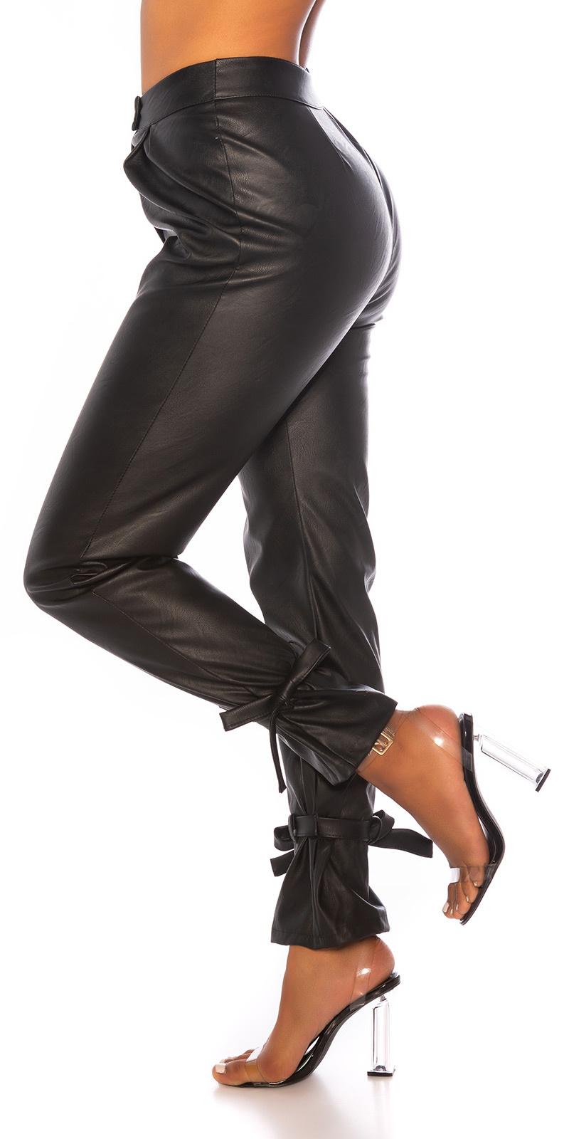 Trendy hoge taille broek leder- look zwart