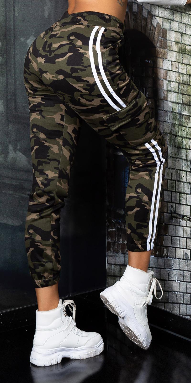 Sexy camouflage cargo thermo sweatpants khaki