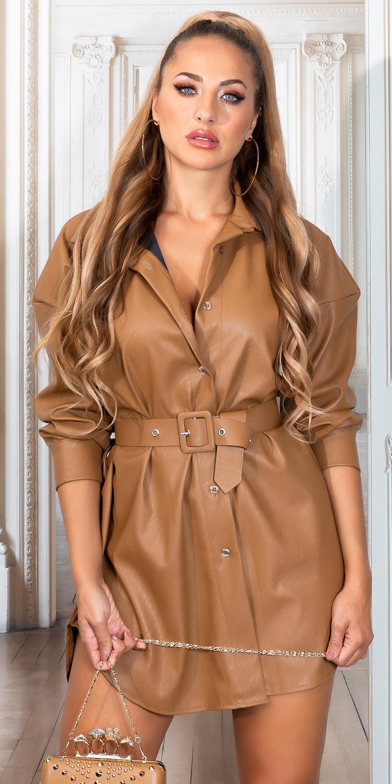 Sexy faux leder shirt jurk bruin