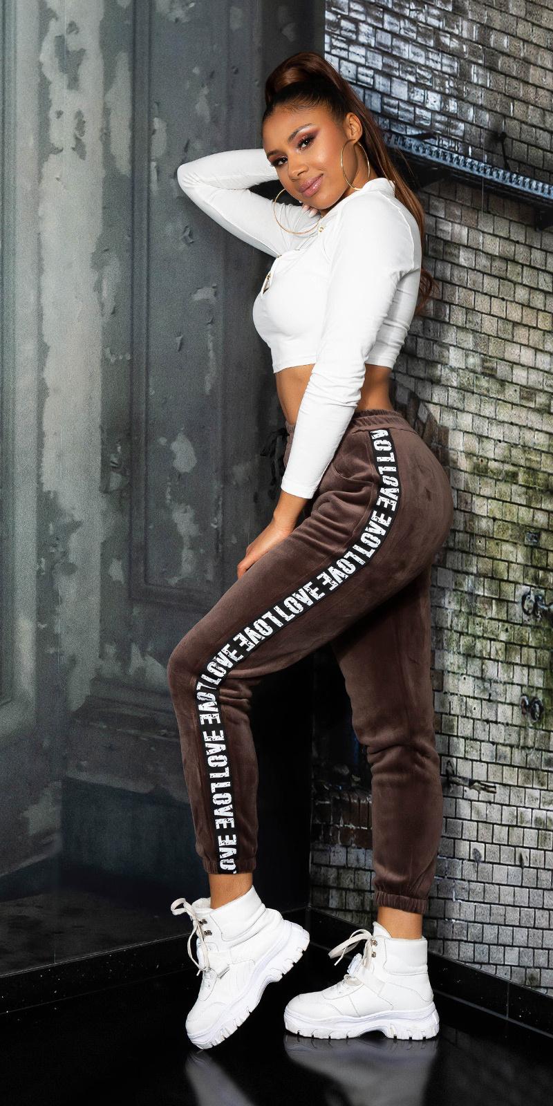 Trendy love sport/lounge thermo broek bruin