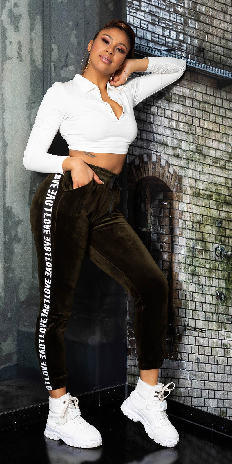 Trendy love sport/lounge thermo broek khaki