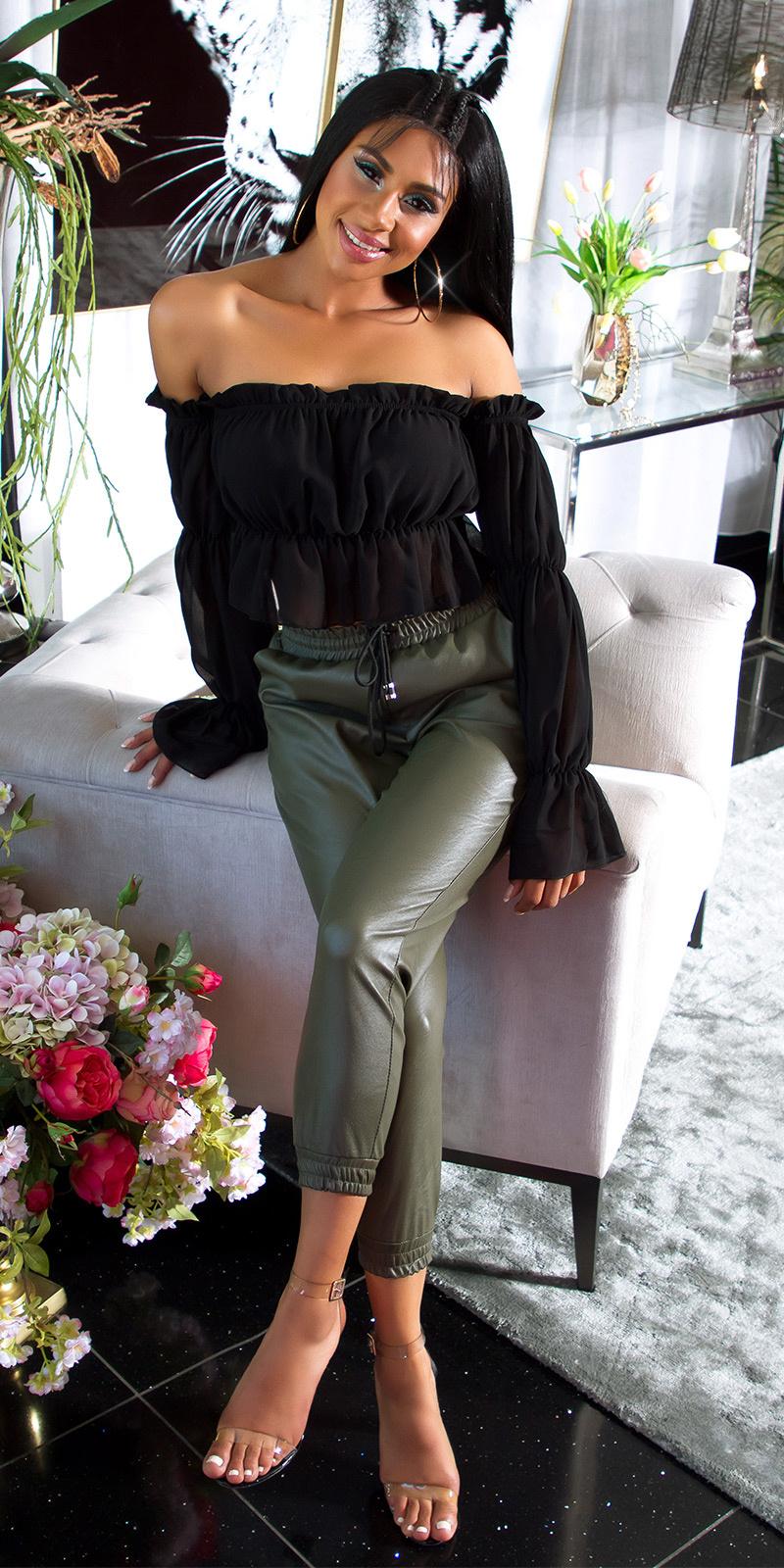 Trendy hoge taille lederlook broek khaki