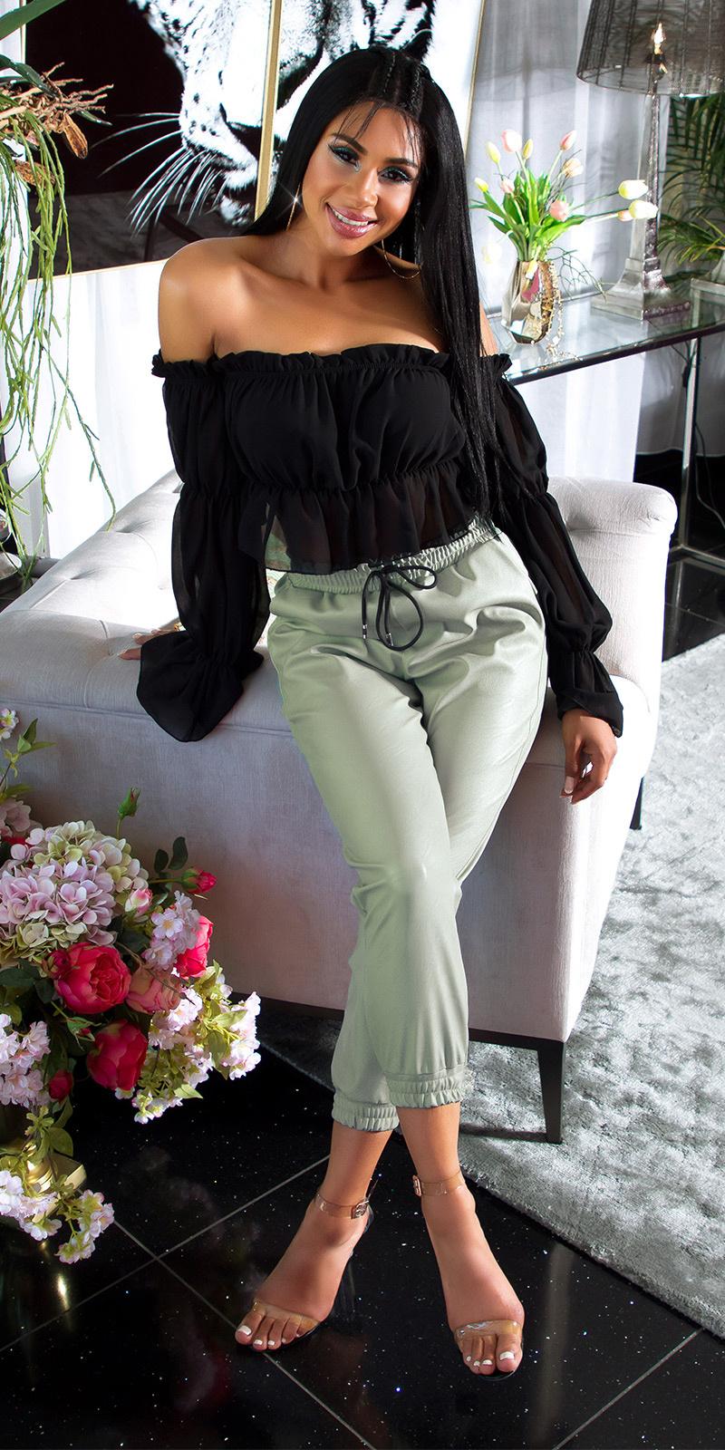 Trendy hoge taille lederlook broek groen