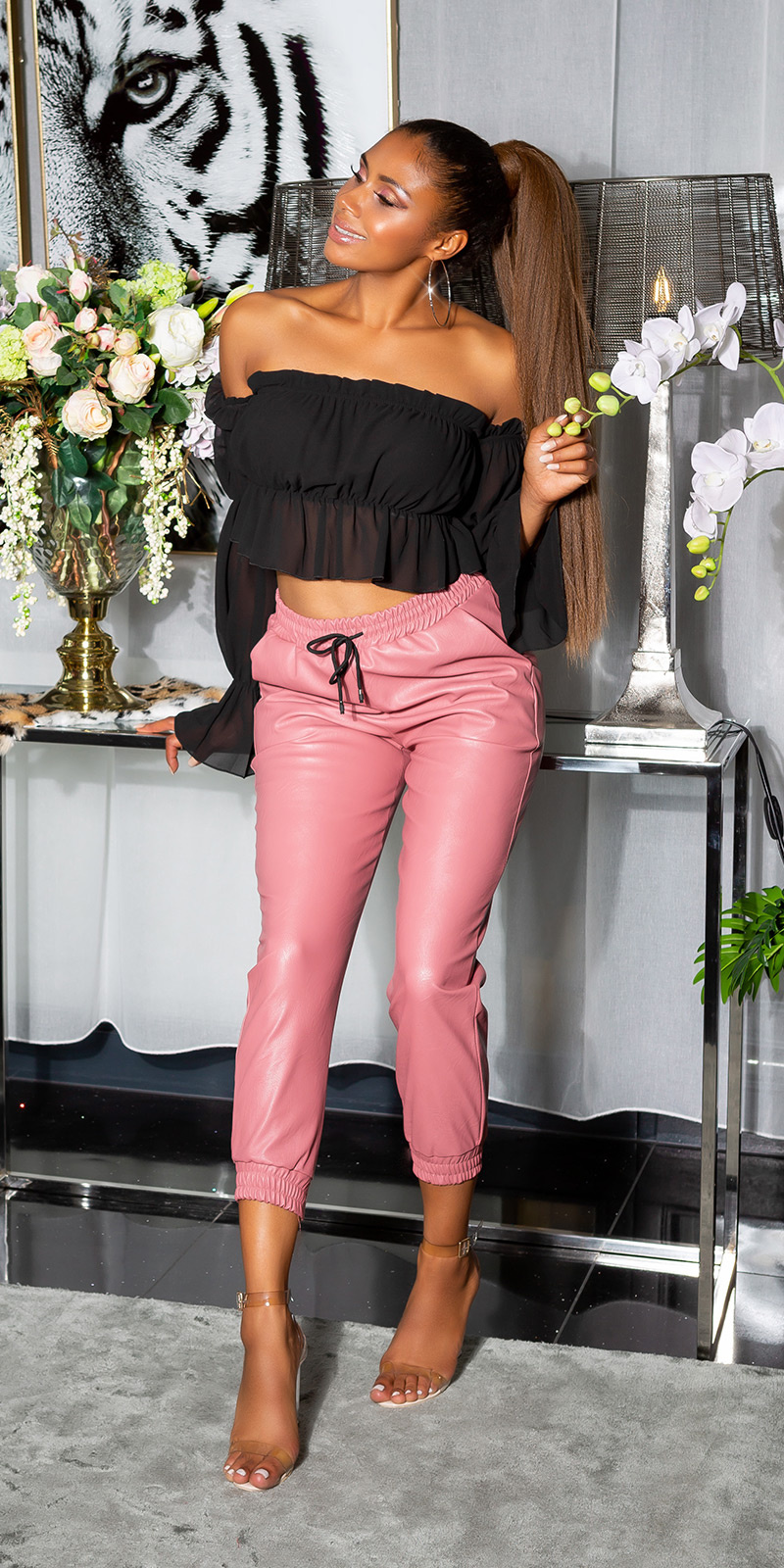 Trendy hoge taille lederlook broek roze