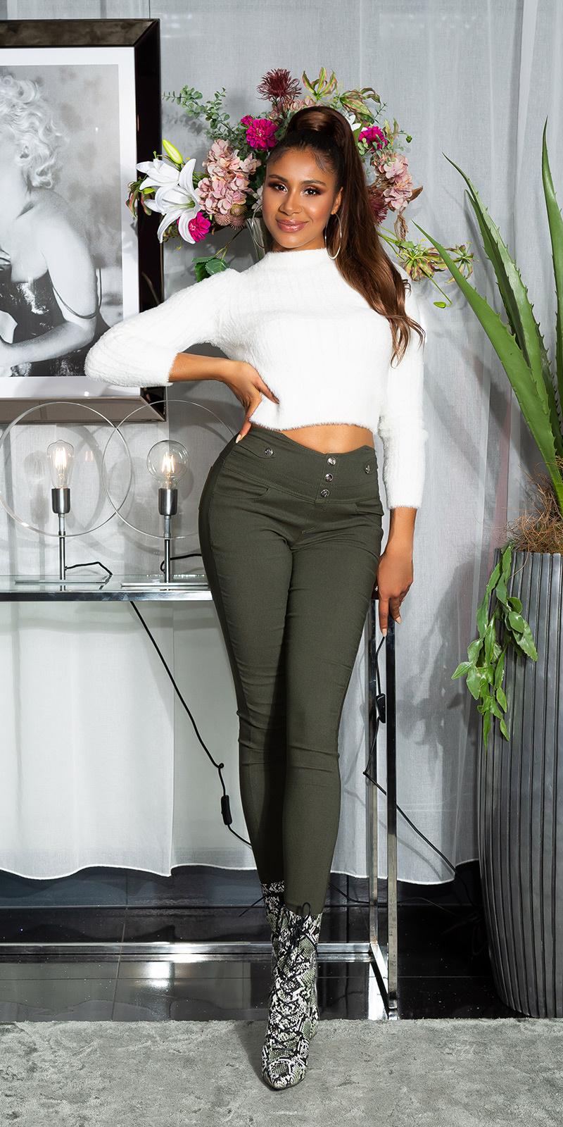 Sexy skinny broek met decoratieve knopen khaki