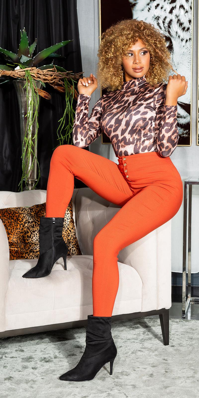 Sexy hoge taille broek met decoratieve knopen oranje