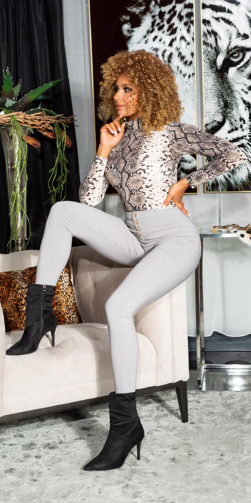 Sexy hoge taille broek met decoratieve knopen grijs