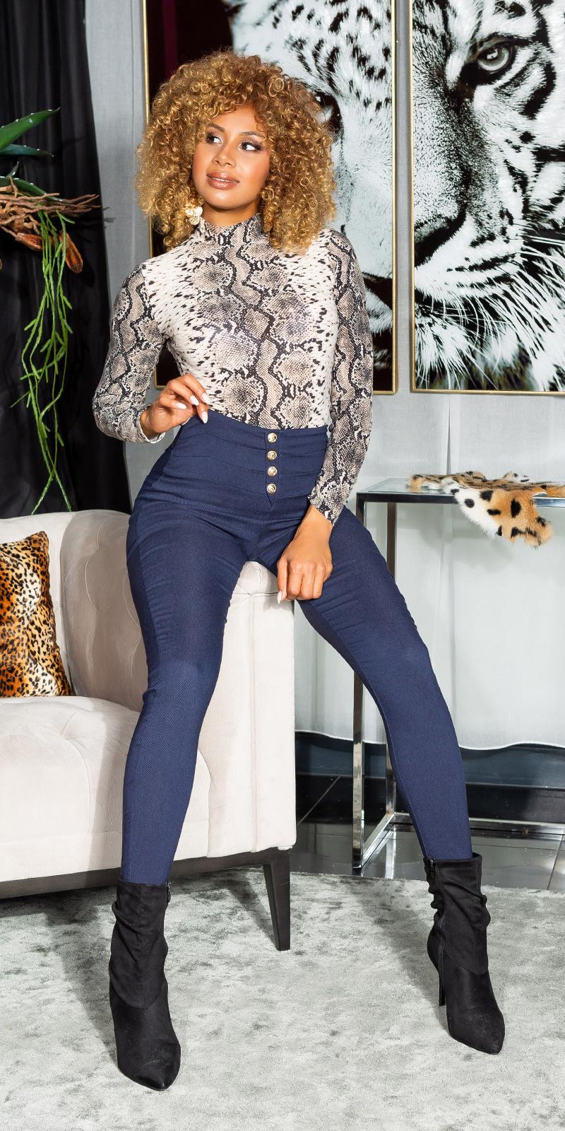 Sexy hoge taille broek met decoratieve knopen marineblauw