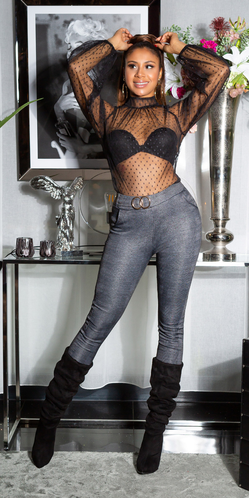 Sexy skinny broek met decoratieve gesp / thermo antraciet
