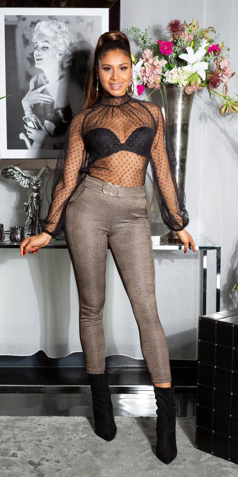 Sexy skinny broek met decoratieve gesp - thermo bruin
