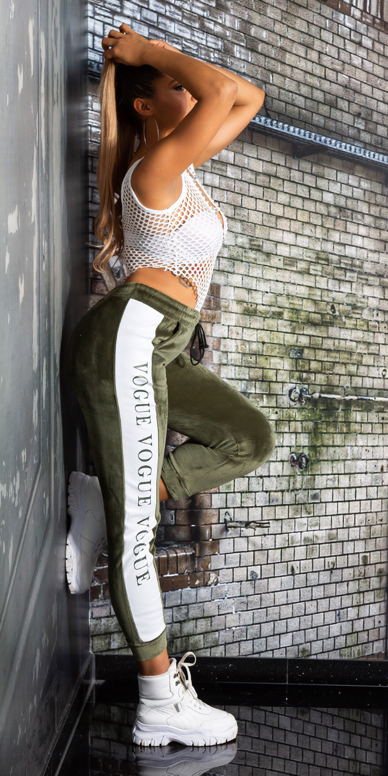 Trendy vogue sweatbroek - thermo khaki