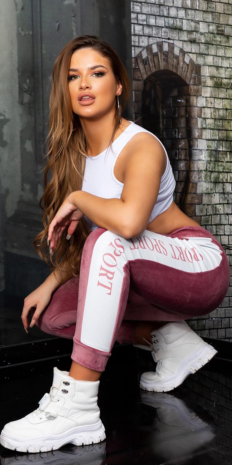 Sexy sport velour sweatbroek/thermo roze