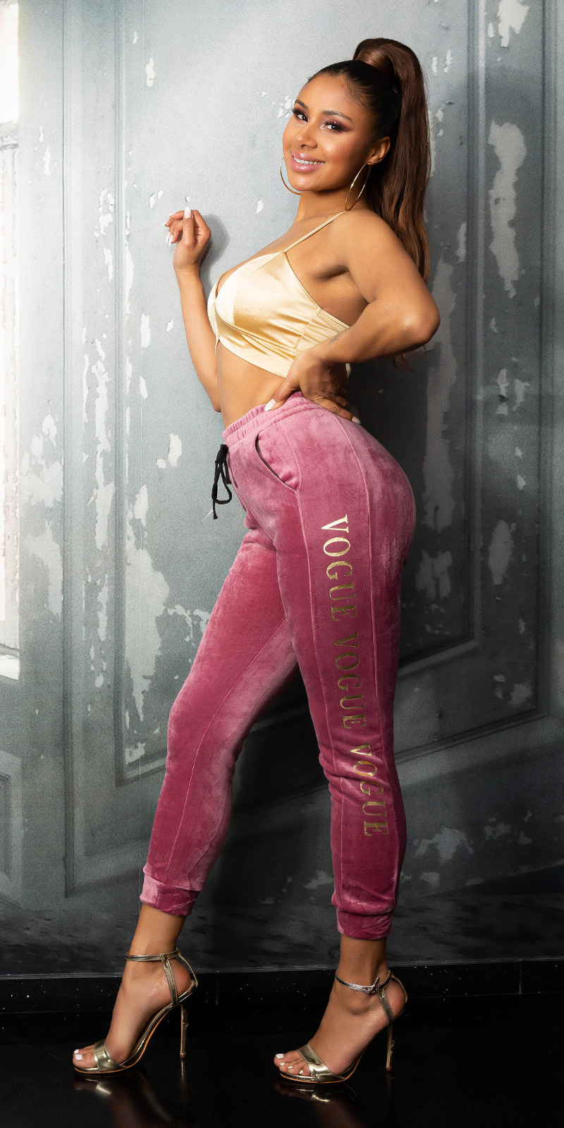 Trendy vogue sport/lounge thermo broek roze