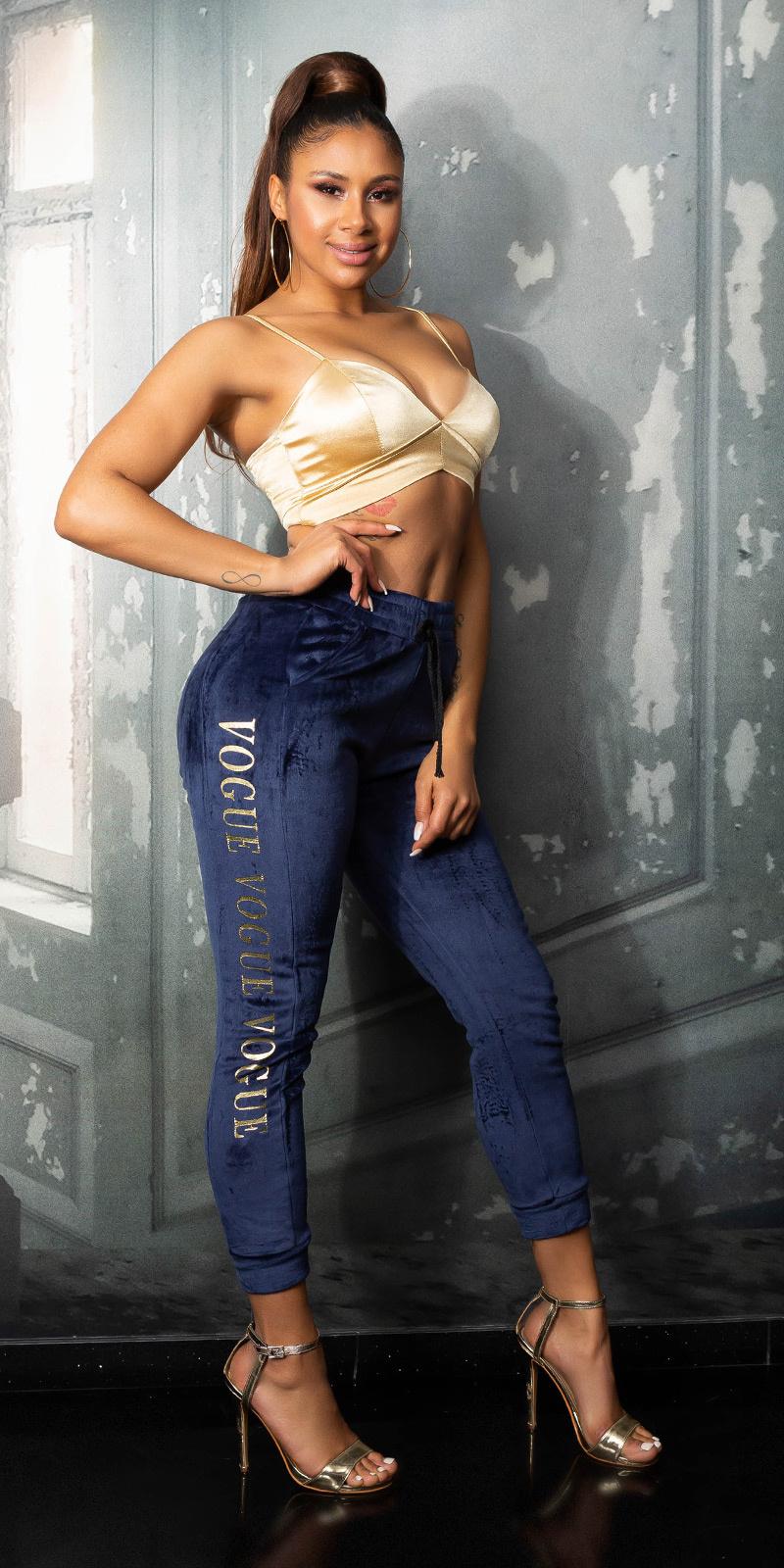 Trendy vogue sport/lounge thermo broek marineblauw