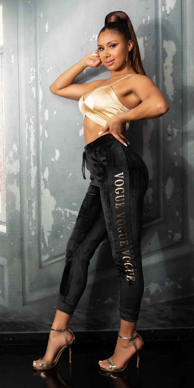 Trendy vogue sport/lounge thermo broek zwart