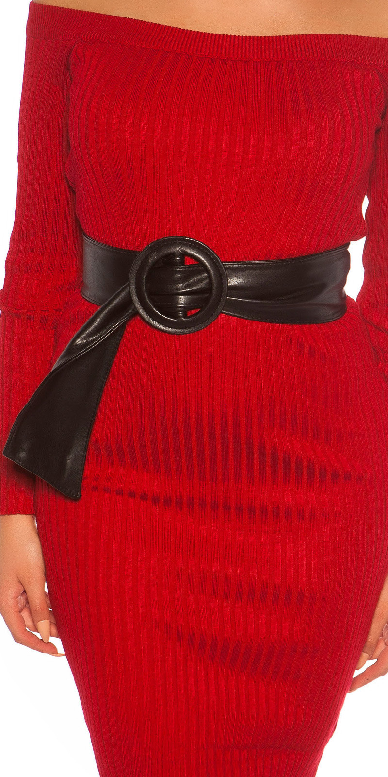 Trendy leatherette waist belt Black