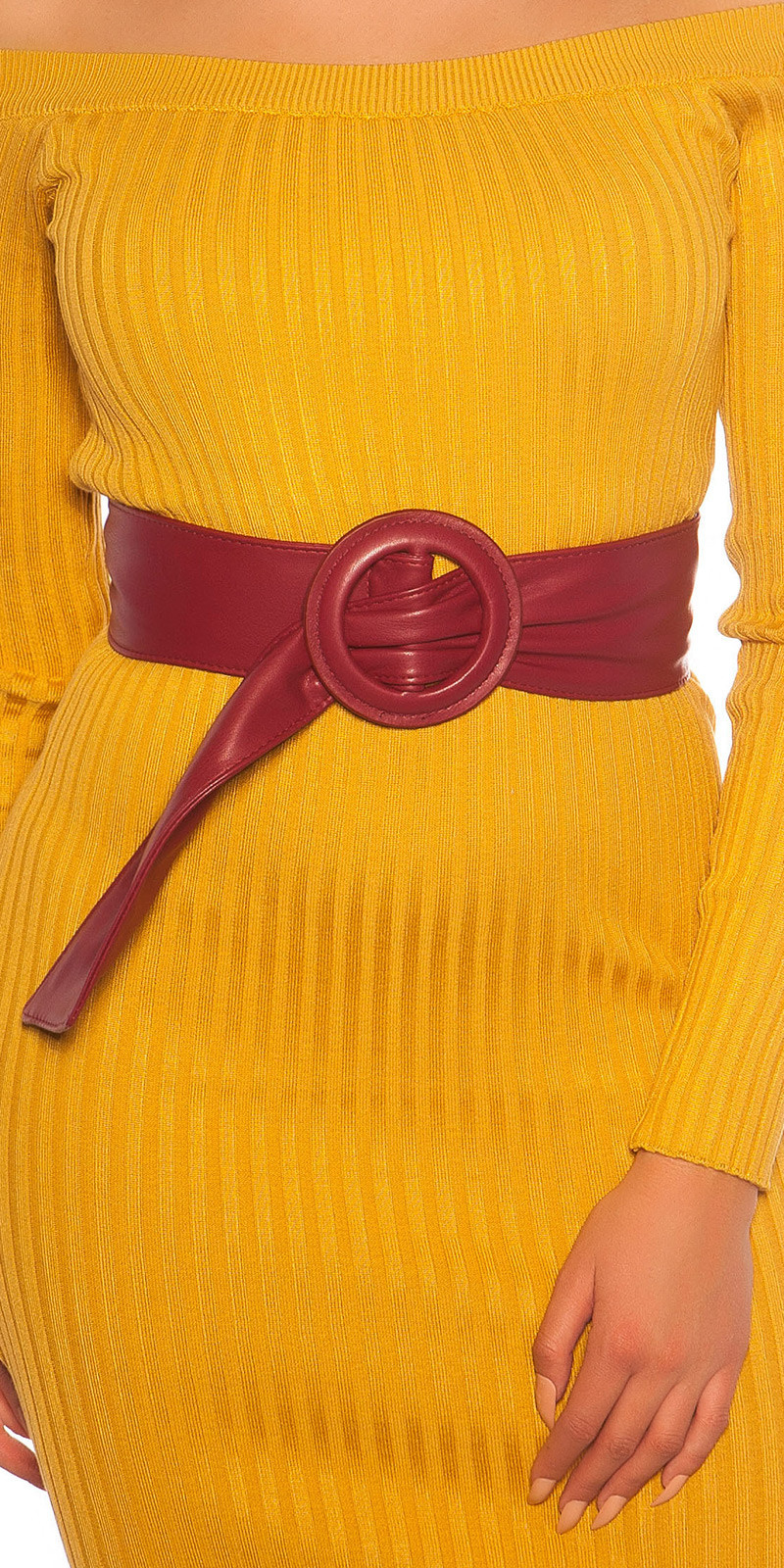 Trendy leatherette waist belt Bordeaux