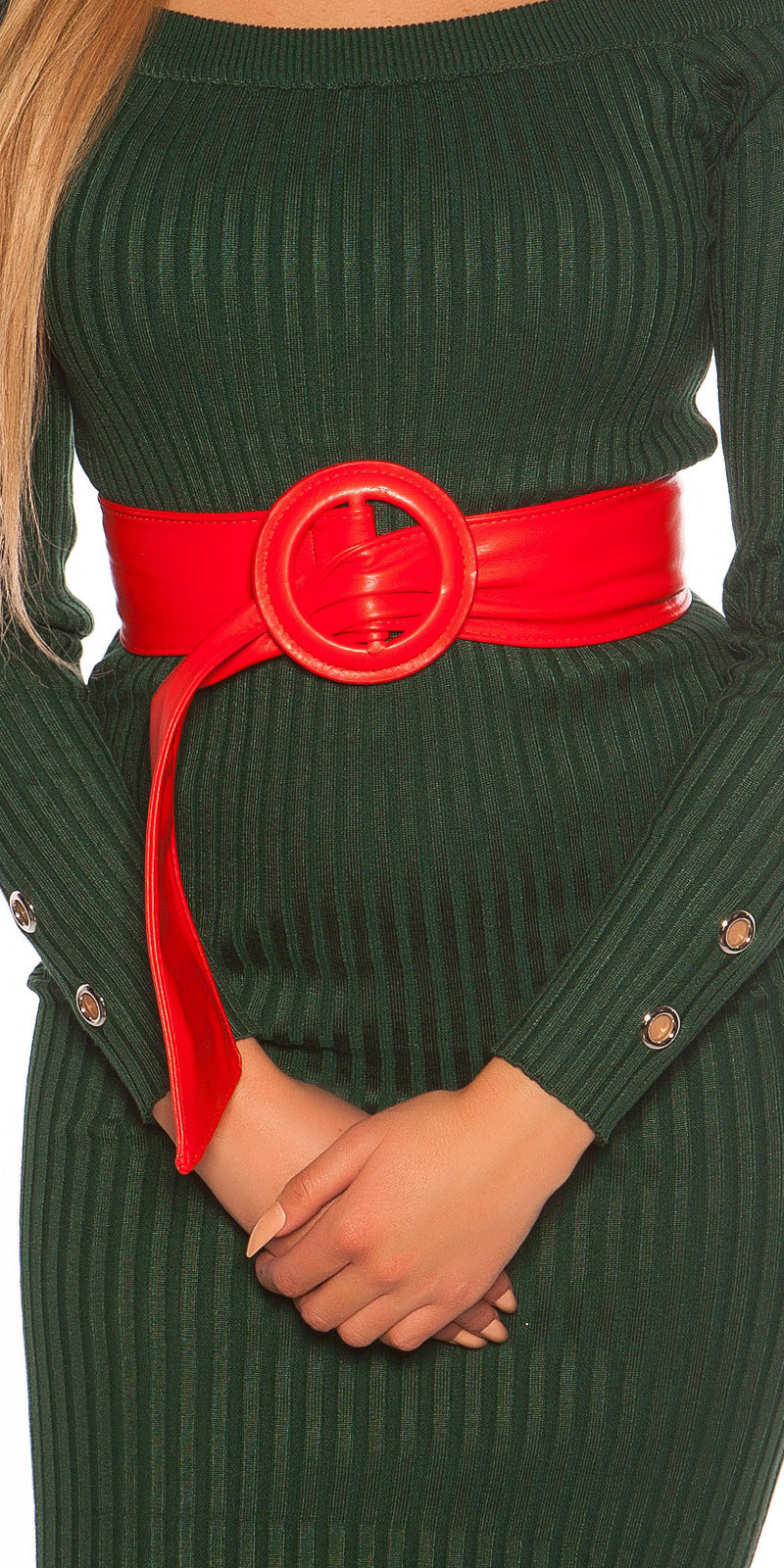 Trendy taille riem rood