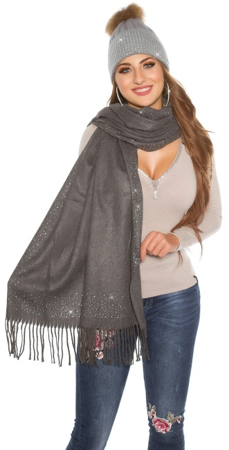 Trendy XL scarf with rhinestones Anthracite